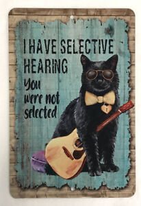 CAT SIGN - BLACK CAT guitar SELECTIVE HEARING love CATS 8x12 Metal aluminum
