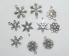 10pz  ciondoli charms di Natale fiocchi di neve 19x16mm-25x19mm colore tibet