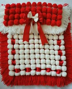 Red And Cream Pompom Baby Unisex Pram Blanket With Matching Ribbon Bows