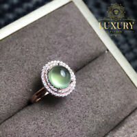 Natural Prehnite Stones 18K Rose Gold Plated 925 Sterling Silver Women Rings