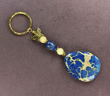 BLUE MAGNESITE STONE LAPIS LAZULI KEY CHAIN Ring Butterfly Totem Monarch Gold
