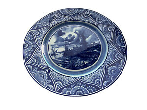 VINTAGE PLATE DELFT / DELFTS  HOLLAND BLUE & WHITE Handpainted PLATE 12 In Wall