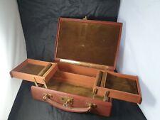Vintage Finnigans Bond Street London leather jewellery suitcase box case & Key