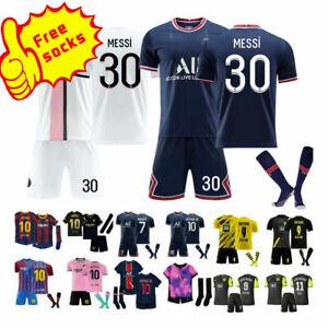 21/22 Kids Football Jersey Full Kits Boy&Girl's Soccer Club Training Suits