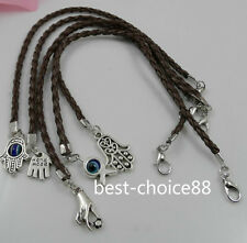 Free 5Pcs Mixed HAMSA HAND Evil Eye String Bracelets Lucky Charms Leather HOT