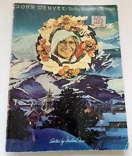 John Denver ROCKY MOUNTAIN CHRISTMAS Songbook Sheet Music VTG 1976 Water Stains