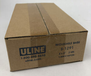 """Uline 1000 Count Reclosable Bags 2"""" x 3"""" 2mm S-1291 - Fast Free Shipping"""