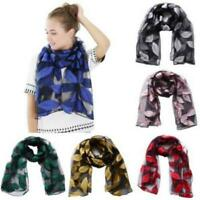 Women Long Soft Wrap Scarf Shawl Chic Leaves Embroidered Scarves Stole AL