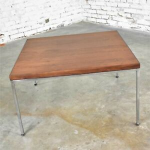 Mid Century Modern Chrome & Walnut End or Coffee Table After Florence Knoll