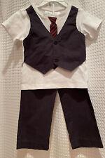 FAO Schwartz~Boys 24M 2T~2PC Formal Suit Outfit Set~Tie Vest Tee~Pants~Cotton