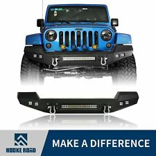 Hooke Road Full Width Front Bumper w/ LED Lights For Jeep Wrangler 07-18 JK
