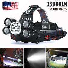35000LM 5Head CREE XM-L T6 LED 18650 Headlamp Headlight Flashlight Torch Lamp BK