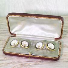 "EDWARDIAN ESSEX CRYSTAL ""ELKS LODGE"" CUFFLINKS, BOXED - 18k Gold - c 1910"