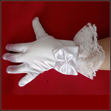 Fashion Princess Kids Girl Gloves Lace Satin Flower For Wedding Party Dance