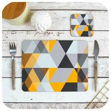 Scandi Geometric Placemat & Coaster, Grey & Yellow triangles, modern home decor