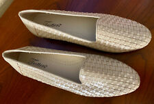 $90 TROTTERS LIZ WOVEN LEATHER FLATS SHOES - SIZE 11 NARROW - BONE - NEW IN BOX