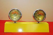 "5"" Round Amber Fog Lights Vintage Yellow Pair Antique 12V"