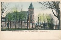 CHATEAUGAY NY – Hand Colored Postcard - Presbyterian Church and East Main Street