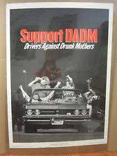 Vintage 1990 Support DADM poster Drivers Against Drunk Mothers anti-drunk  4168