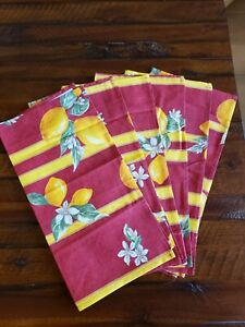 Sur La Table 6 Cotton Napkins Red w/Yellow Lemons  Italy New
