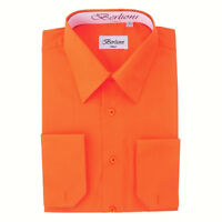 Berlioni Italy Men's Convertible Cuff Solid Italian French Dress Shirt Orange