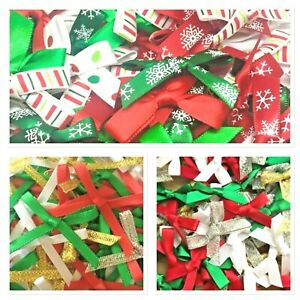 30 CHRISTMAS BOWS - CHOOSE SIZE - XMAS - CRAFT - CARDMAKING - EMBELLISHMENTS