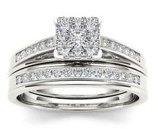 White Gold Female Princess Cut White Topaz Ring Set Wedding Jewelry Size 6-10