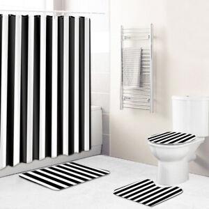Black&White Style Bathroom Rug Set 4PCS Shower Curtain Toilet Lid Cover Bath Mat