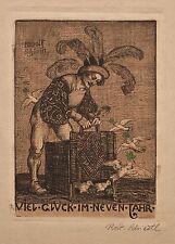 Rudolf Schiestl - Neujahrskarte - colorierte Radierung - o. J.