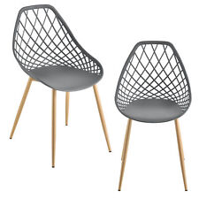 [en.casa] 2x Design Stühle Esszimmerstuhl Bürostuhl Stuhl Kunststoff Grau