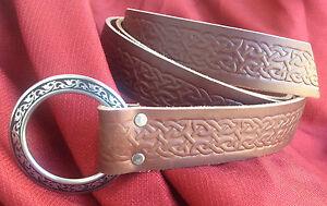 """1.5"""" Celtic Knotwork Ring Belt Black or Chestnut SCA Faire Sword Rennie Medieval"""