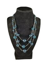 Vintage RMN Blue Faux Pearls Aurora Borealis Beaded Triple Strand Necklace