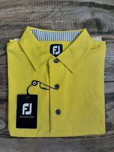 NEW FootJoy Mens Solid Lisle Golf Polo Large Yellow
