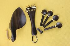 High quality undyed ebony violin parts 4/4, chinrest, pegs, tailpiece, endpin