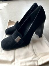 NEW Authentic Womens GUCCI Black Pumps Heels Silver Gucci Plaque Size 36C