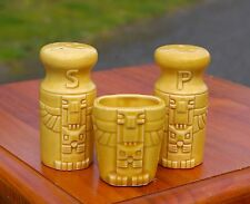 Yellow Eagle Totem Salt & Pepper Shaker Set With Toothpick Holder Made in Japan
