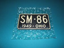 ~ ORIGINAL VINTAGE OHIO '49 WAFFLED SAMPLE  #SM*86  LICENSE PLATE * SHORTY *