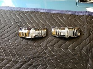 Pair NOS 1941 Buick Headlight Ornaments Chrome Emblems Eyebrow Trim Bezel
