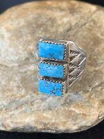 Native American Navajo Kingman Turquoise Ring 3 Stone Sterling Silver Sz 14 101
