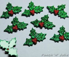 7 x GLITTER HOLLY Christmas Leaf Berries Plastic Dress It Up Craft Embellishment