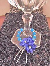Décoration Fleurs bleues Pour Verre Table De Fêtes & Fait Main * Cadeau Original