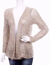 Eileen Fisher Designer Knit Cardigan Beige XS Mohair & Wool Blend Chunky