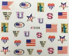 Nail Art 3D Decal Stickers USA Flag America 4th of July Statue of Liberty E208