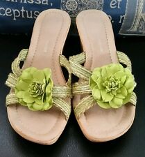 Ladies size Eur 38 The Italian Collection sandals green flower wedge heel