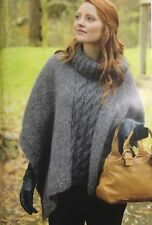 KNITTING PATTERN Ladies Roll Neck Poncho Cable Stripe Front & Back Rowan Aran