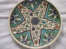 Assiette de décoration terre cuite émaillée peinte à la main