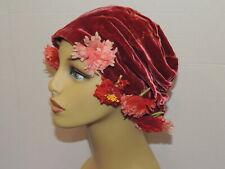 1930's Rosy Silk Velvet Cap / Hat w Flowers Med