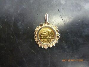 1989 Chinese Panda 1/20 OZ .999 Fine Gold Coin Bullion Charm Pendant