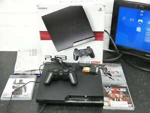 PlayStation 3 Sony PS3 Slim 120GB Black Boxed in VGC CECH-2104A
