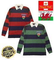 New Men's Cymru Elis Wales Welsh Dragon Shield Stripe Collared Rugby T Shirt